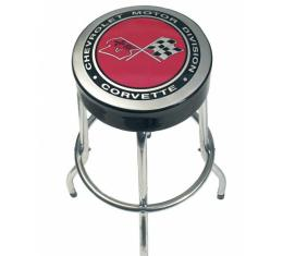 Corvette Bar Stool With Crossed-Flags Logo