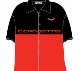 Corvette Shirt, David Carey, C6 Split Design, Red And Black