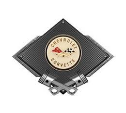 "Corvette C1 1958-1960 Emblem Metal Sign, Black Carbon Fiber, Crossed Pistons, 25"" X 19"""