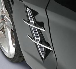 Corvette Blade Set, Side Fender, With Screens, Billet Aluminum, 2005-2013