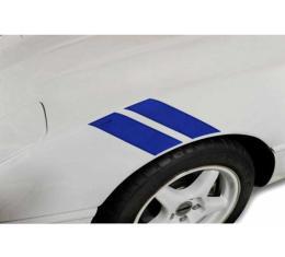 Corvette Fender Accent Stripes, Blue With Crossed Flags Emblem, 1991-1996