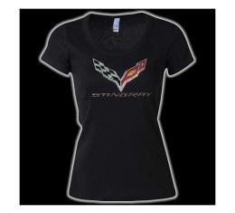 Corvette Ladies Scoop Neck Rhinestone Stingray Flag Logo T-Shirt