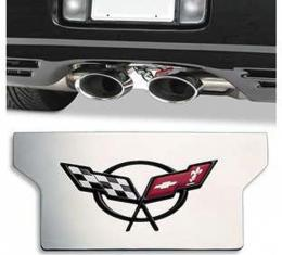Corvette Exhaust Filler Plate, Polished Stainless Steel With C5 Logo, 1997-2004