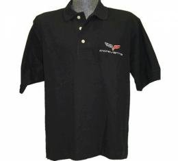 Corvette C1 1953-1962 Men's Custom Embroidered Pima Cotton Polo, Black, S-4XL