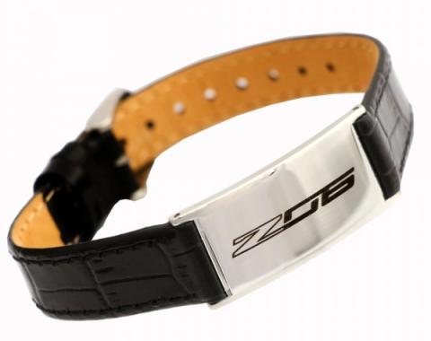 Corvette C7 Z06 Leather Adjustable Bracelet, Medium