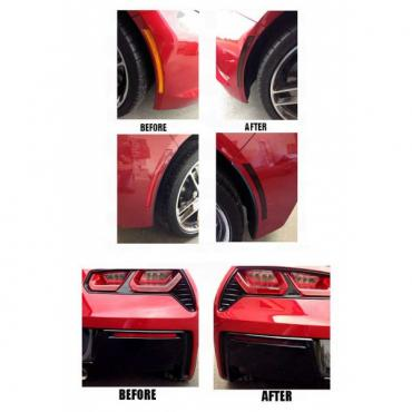 Corvette Blackout Side Marker And Lower Rear Bumper Reflector Vinyl Covers, 2014-2017
