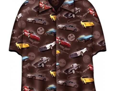 Corvette Camp Shirt, David Carey Design, Corvettes 60, Brown