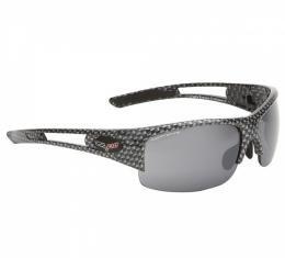 Corvette Eyewear® C6 Rx Capable Rimless Sunglasses, Simulated Carbon Fiber, Smoke Flash Mirror Lenses