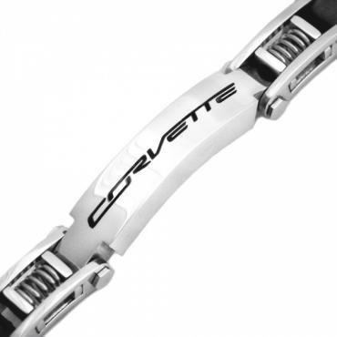 "Corvette C7 Stainless Signature ID Rubber & Spring 8.5"" Bracelet"