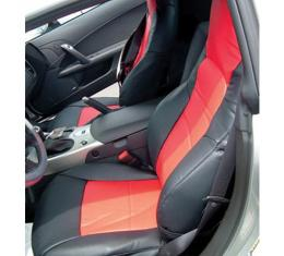 Corvette Seat Covers, Sport, 100% Leather, Two-Tone, 2007-2011   Ebony/Red