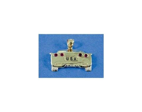 Corvette Pendant, Rear View, C5 Coupe, With Ruby Taillights& USA Tag
