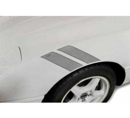 Corvette Fender Accent Stripes, Metallic Silver With 40th Anniversary Emblem, 1984-1996