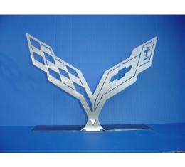 Corvette Stingray Crossed Flags Stainless Steel Sign  With Mounted Stand