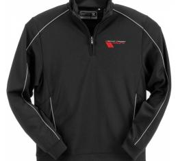 Corvette Pullover, Half Zip, Grand Sport, DryTec, Black, Cutter & Buck