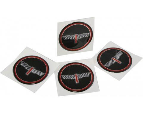 """Corvette Wheel Spinner Kit Emblems, Checkered Flag, 2"""", Black, 1976-1987"""