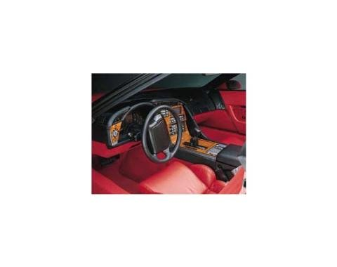 Corvette Dash & Trim Kit, For Cars With 6-Speed Transmission, Rosewood, 1990-1991