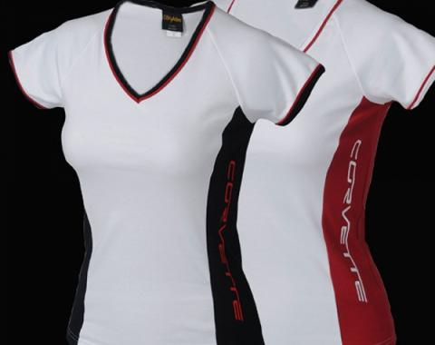 Corvette T-Shirt, Ladies, V-Neck Tee, White/Black
