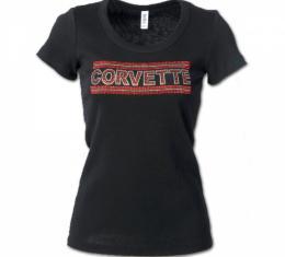 Corvette Rhinestone Ladies Tee Shirt, Black With Red Rhinestones