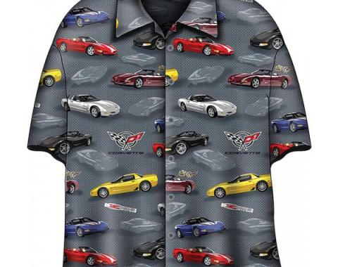 Corvette Camp Shirt, David Carey Design, C5 Corvettes, Grey