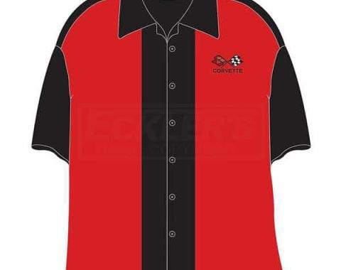 Corvette Camp Shirt, David Carey Design, C3 Corvette Club, Red