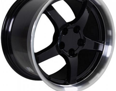 Corvette 18 X 10.5 C5 Style Deep Dish Reproduction Wheel, Black With Machined Lip, 1988-2004