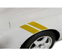 Corvette Fender Accent Stripes, Yellow With Grand Sport Emblem, 1984-1996