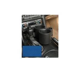 Corvette Two-Drink/Cell Phone Holder, Console, Carbon FiberBlue Vinyl, Plug  & Chug, 1997-2004