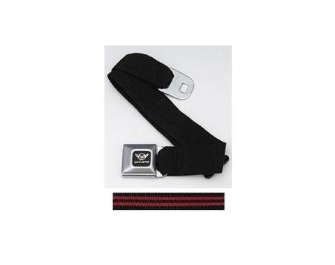 Corvette Waist Belt, With Seat Belt Buckle, With Black & RedWebbing, C5 Logo