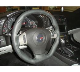 Corvette Steering Wheel, Black Leather, With Perforated Accents & Black Thread, 2006-2013