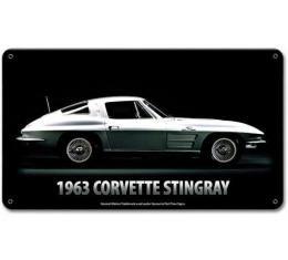 Corvette Stingray Vintage Metal Sign, 14x8, 1963