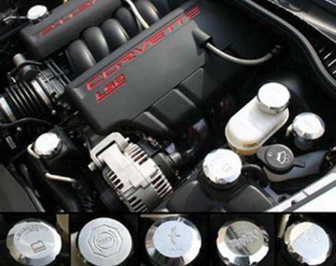 Corvette Cap Set, Billet, Polished, Underhood, 2006-2013