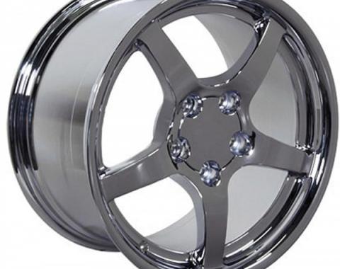 Corvette 18 X 9.5 C5 Style Deep Dish Reproduction Wheel, Chrome, 1988-2004