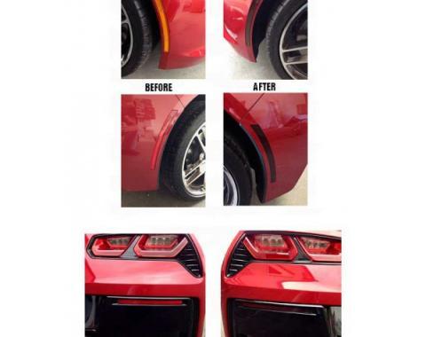 Corvette Blackout Side Marker And Lower Rear Bumper Reflector Vinyl Covers, 2014-2017