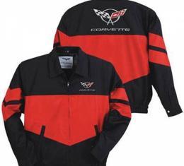 Corvette Jacket, Twill, Red/Black,C5 Logo