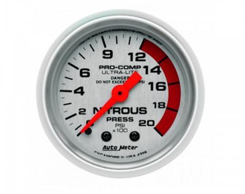 Corvette Fuel Pressure Gauge, AutoMeter, Nitrous, 2000 PSI, 1984-2002