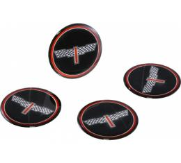 "Corvette Wheel Spinner Kit Emblems, Checkered Flag, 1-3/4"",Black, 1976-1987"