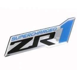 Corvette Supercharged ZR1 Domed Emblem, Black/Blue/Chrome, 2009-2013