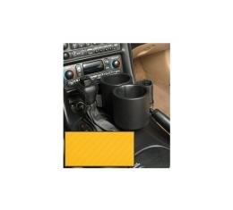 Corvette Two-Drink/Cell Phone Holder, Console, Carbon FiberYellow Vinyl, Plug & Chug, 1997-2004