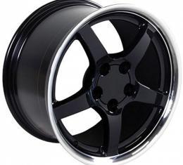 Corvette 17 X 9.5 C5 Style Reproduction Deep Dish Wheel, Black With Machined Lip, 1988-2004