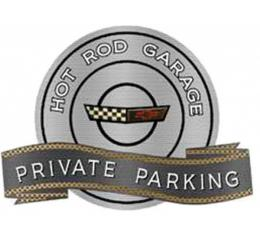 "Corvette C4 1991-1996 Emblem Hot Rod Garage Private ParkingMetal Sign, 18"" X 14"""