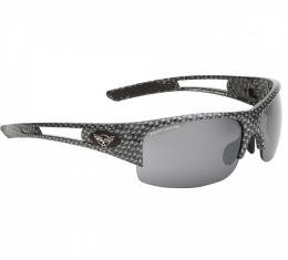 Corvette Eyewear® C5 Rx Capable Rimless Sunglasses, Simulated Carbon Fiber, Smoke Flash Mirror Lenses