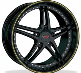"""Corvette Wheel Package, Gloss Black With Yellow Stripe, Bullet Series, 18"""" Front, 19"""" Rear, 1997-2013"""