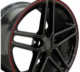 Corvette 18 X 9.5 C6 Z06 Reproduction Wheel, Black With RedBanding, 1988-2004