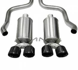 "Corvette Exhaust System, With Pro-Series Black 3-1/2"" Quad Tips, Xtreme, CORSA, 2009-2013"