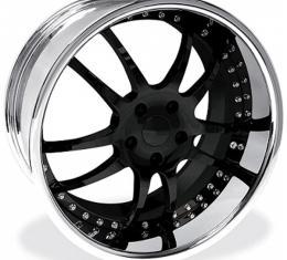 """Corvette Wheel Package, Custom Black, Chrome Lip, 19x9.5"""" Front, 20x11"""" Rear, 2005-2013"""