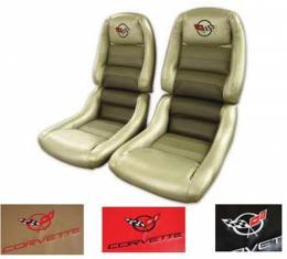 "Corvette America 1982 Chevrolet Corvette Embroidered Leather Seat Covers 100% Leather 4"" Bolster 420246E | 82 Dark Blue"