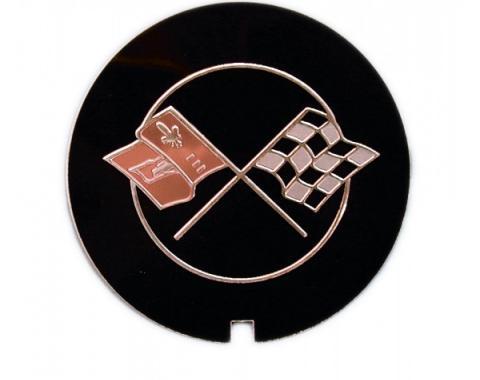 Corvette Decal, Valve Cover Crossed Flags, 1969-1982