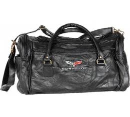 Corvette Leather Road Trip Bag With C6 Embroidered Emblem