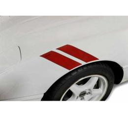 Corvette Fender Accent Stripes, Red With Crossed Flags Emblem, 1991-1996