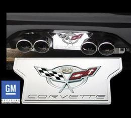 Corvette Exhaust Filler Plate, Chrome Plated Billet Aluminum With 50th Anniversary Logo, 2003
